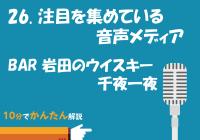 26. 注目を集めている音声メディア/BAR岩田のウィスキー千夜一夜