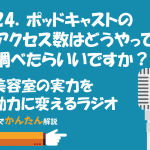 124.ポッドキャストのアクセス数はどうやって調べらたらいいですか?/美容室の実力を動力に変えるラジオ 「サロンのチカラ」